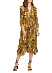 ba&sh Sahara Snakeskin Print Midi Dress