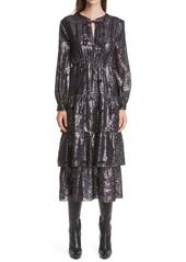 ba&sh Sophie Tiered Long Sleeve Dress