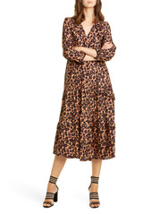ba&sh Tracy Leopard Print Midi Dress