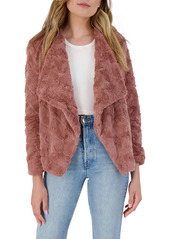 BB Dakota Come Cozy Drape Front Textured Faux Fur Jacket