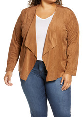 BB Dakota Drape Front Faux Suede Jacket (Plus Size)
