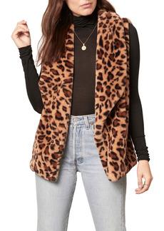 BB Dakota Purr Crazy Leopard Print Faux Fur Vest