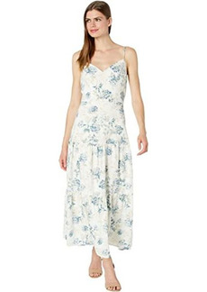 BCBG Max Azria Floral Linen Midi Dress