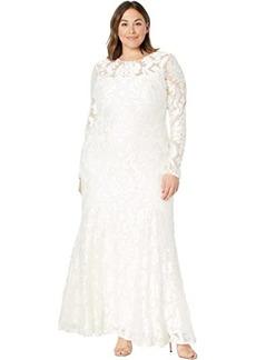 BCBG Max Azria Large Medallion Burnout Lace Evening Dress