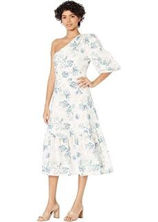 BCBG Max Azria One Shoulder Printed Linen Midi Dress