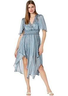 BCBG Max Azria Printed Drape Front Day Dress