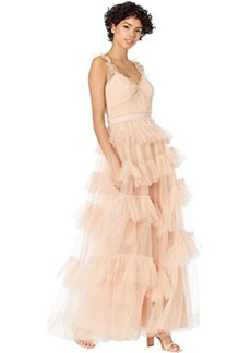 BCBG Max Azria Tulle Ruffle Gown Evening Dress