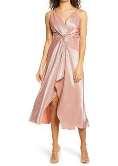 bebe Knot Front Ribbed Satin Cocktail Dress