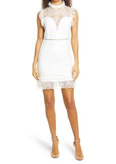 bebe Lace Mock Neck Dress