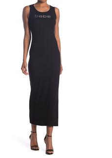 bebe Embellished Logo Maxi Dress