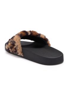 bebe Faryn Embellished Faux Fur Slide Sandal