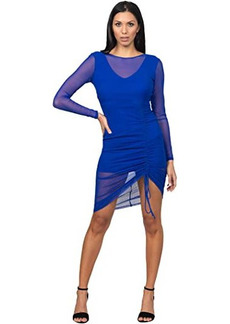 bebe Mesh Long Sleeve Side Ruched Dress