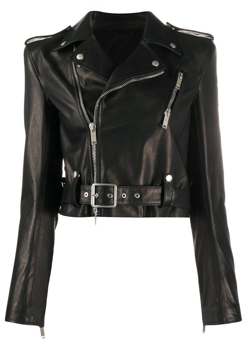 Ben Taverniti Unravel Project belt-detail biker jacket
