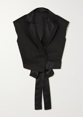Ben Taverniti Unravel Project Cropped Satin-trimmed Twill Blazer