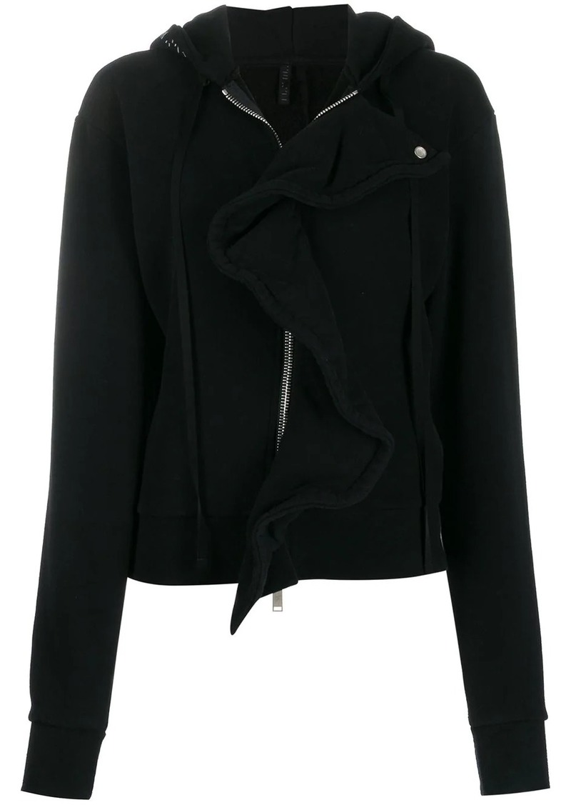 Ben Taverniti Unravel Project frill-trim zipped hoodie