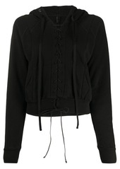 Ben Taverniti Unravel Project lace-up cropped hoodie