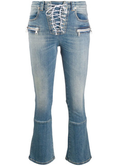 Ben Taverniti Unravel Project lace-up cropped jeans