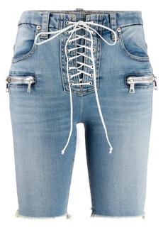 Ben Taverniti Unravel Project lace-up denim shorts