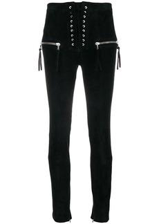 Ben Taverniti Unravel Project lace-up high waist trousers
