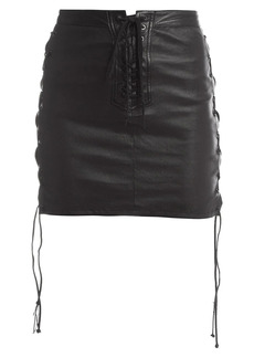 Ben Taverniti Unravel Project Lace-Up Leather Skirt