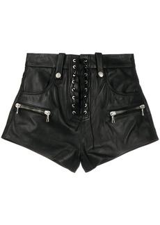 Ben Taverniti Unravel Project lace-up zip-detail shorts