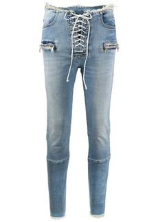 Ben Taverniti Unravel Project mid-rise laced skinny jeans