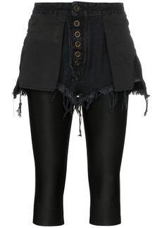 Ben Taverniti Unravel Project Reverse short stretch cotton leggings