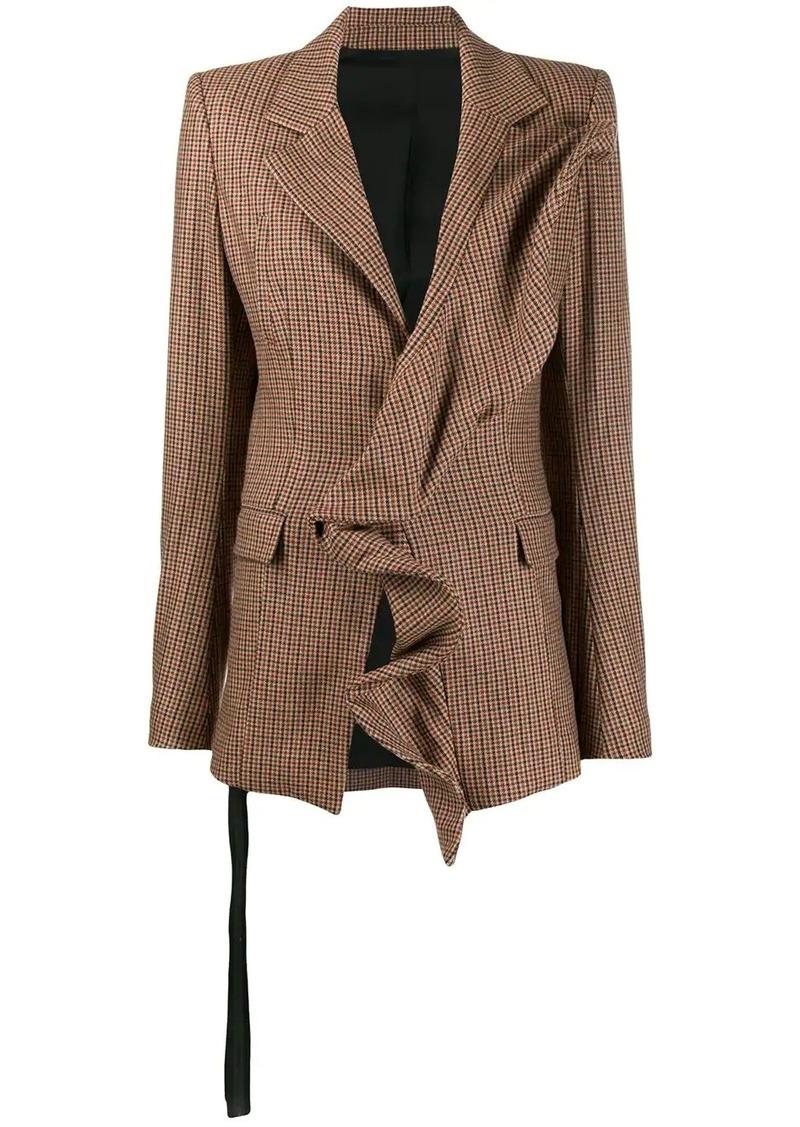 Ben Taverniti Unravel Project ruffle trim checked blazer