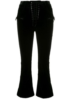 Ben Taverniti Unravel Project velvet cropped lace-up trousers