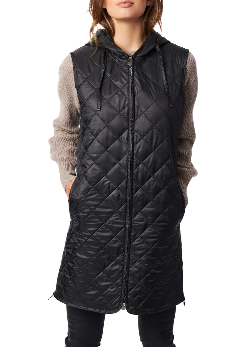 Bernardo Recycled Polyester Quilted Long Vest with Hood