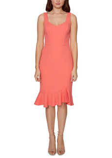 Betsey Johnson Sweetheart-Neck Flounce-Hem Midi Dress