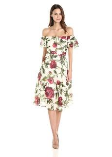 Betsey Johnson Women's Chffon Tea Length Floral Dress