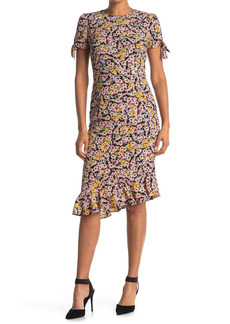 Betsey Johnson Ditsy Floral Print Ruffle Hem Midi Dress