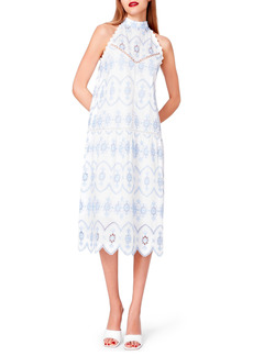 Betsey Johnson Engineered Cotton Eyelet Mock Neck Dress