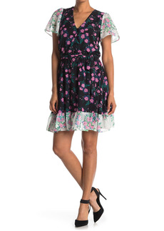 Betsey Johnson Mixed Floral Print V-Neck Mini Dress