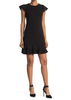 Betsey Johnson Scuba Ruffle Trim Crepe Dress