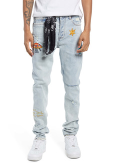 Billionaire Boys Club Men's Distressed Embroidered Jeans