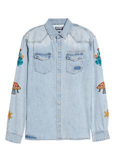 Billionaire Boys Club Men's Hillside Embroidered Chambray Shirt