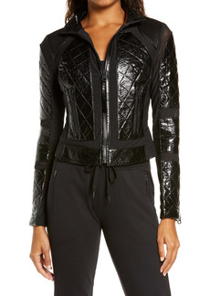 Blanc Noir Quilted Snake Embossed Faux Patent Leather & Mesh Moto Jacket