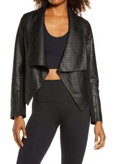 Blanc Noir Textured Leather & Ponte Moto Jacket