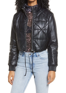 BLANKNYC Crop Quilted Faux Leather Bomber Jacket