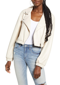 BLANKNYC Drop Shoulder Faux Leather Crop Moto Jacket