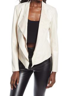 BLANKNYC Faux Leather Drape Front Jacket