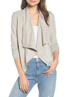 BLANKNYC Drape Front Faux Suede Jacket