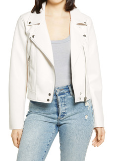 BLANKNYC Good Vibes Faux Leather Moto Jacket