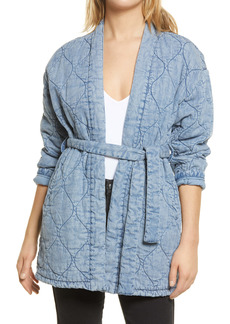 BLANKNYC Quilted Indigo Wrap Jacket