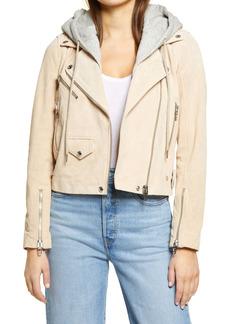 BLANKNYC Suede Hooded Leather Moto Jacket