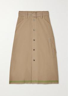 Bottega Veneta Belted Striped Cotton Midi Skirt