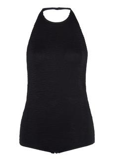 Bottega Veneta - Women's Crinkled Stretch-Jersey Halterneck Bodysuit - Black/white - Moda Operandi