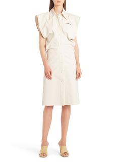 Bottega Veneta Cap Sleeve Coated Cotton Blend Shirtdress